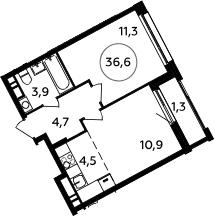 2Е-к.кв, 36.6 м², 16 этаж