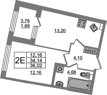 2Е-к.кв, 34.14 м²