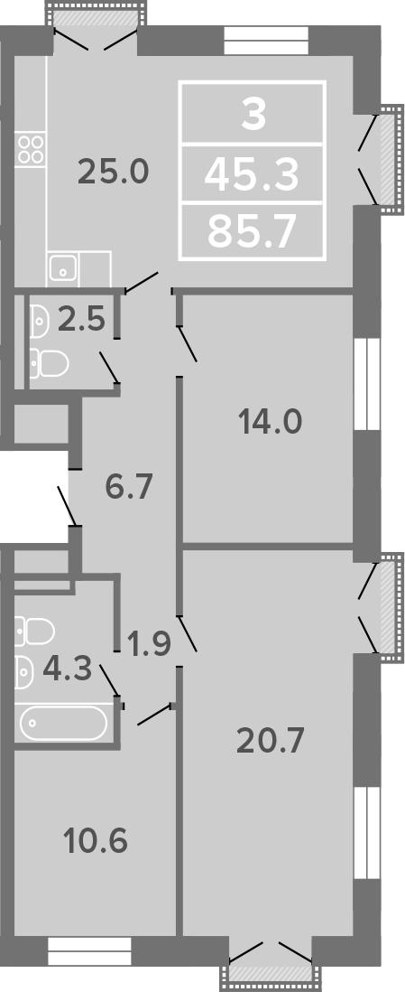 4-к.кв (евро), 85.7 м²