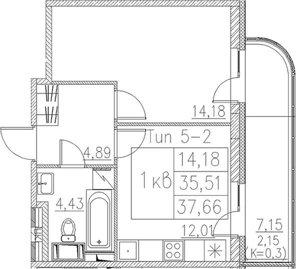 1-комнатная, 37.66 м²– 2