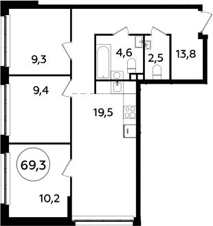 4Е-к.кв, 69.3 м², 2 этаж
