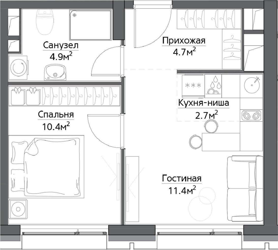 1-к.кв, 34.1 м²