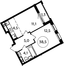 2Е-к.кв, 38.5 м², 13 этаж