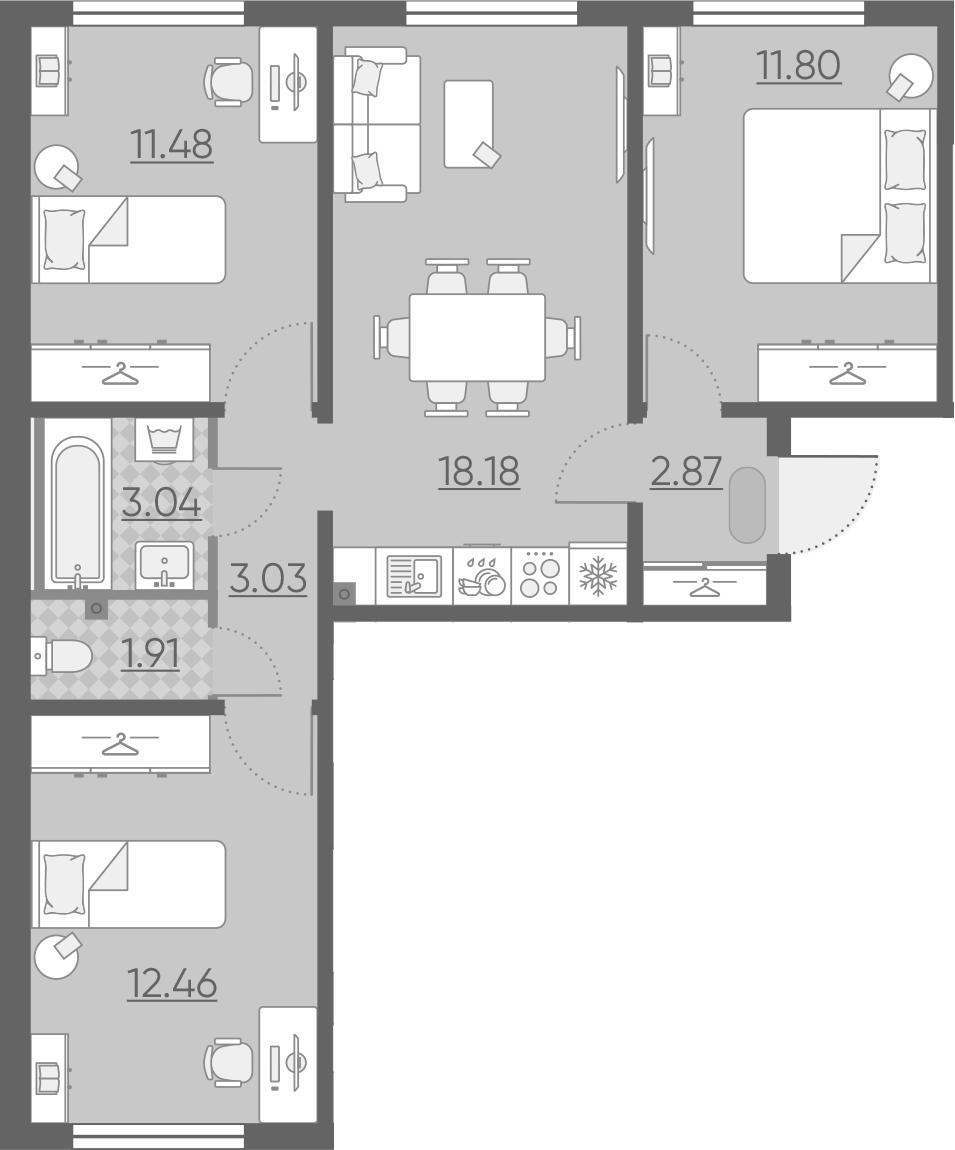 4Е-комнатная, 64.77 м²– 2