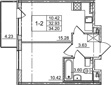 2Е-к.кв, 32.93 м², 3 этаж