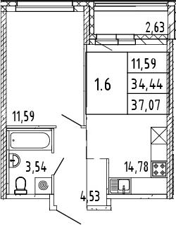 2Е-комнатная, 37.07 м²– 2