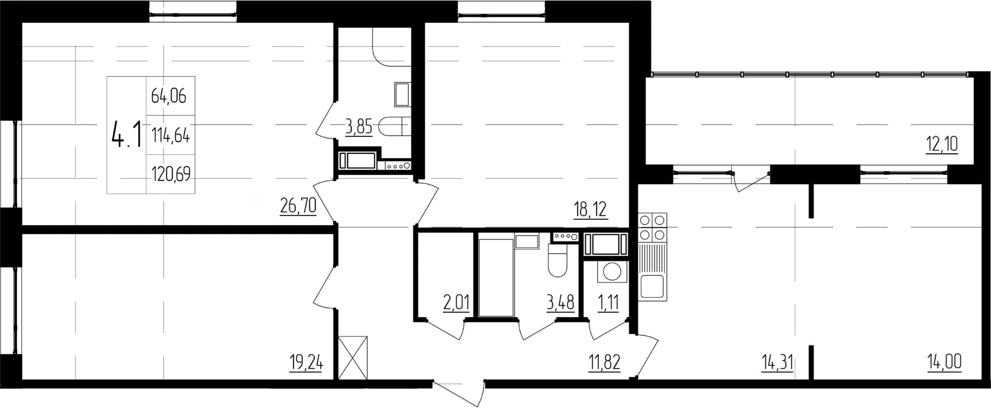 4-к.кв (евро), 126.74 м²