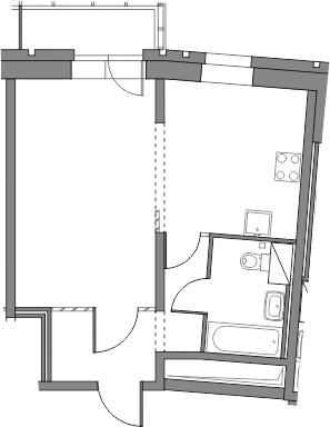 1-к.кв, 38.6 м², от 3 этажа