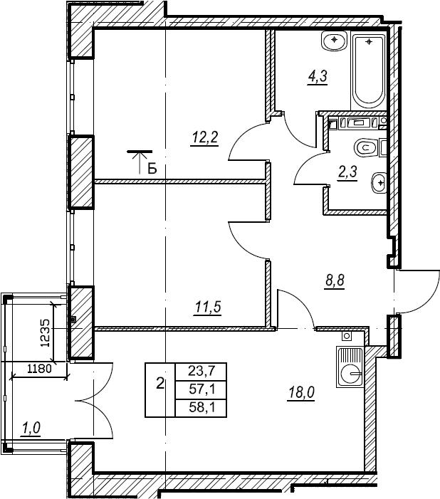 2-к.кв, 58.1 м², 2 этаж