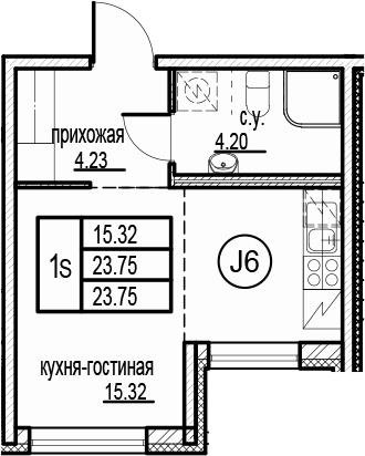 Студия, 23.75 м²– 2