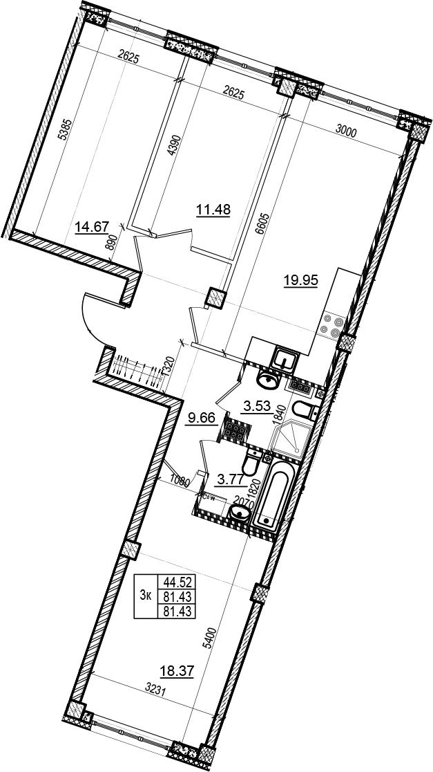 4Е-комнатная, 81.43 м²– 2