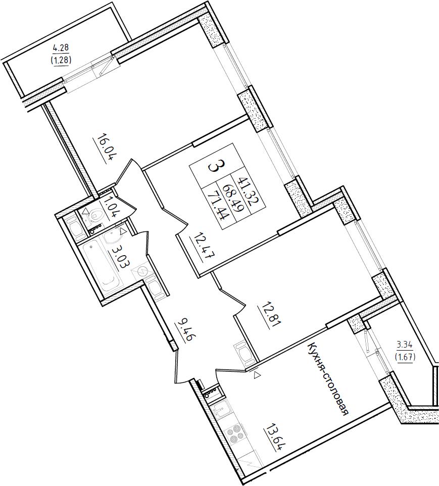3-к.кв, 71.44 м²