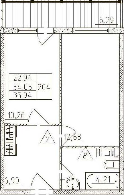 1-к.кв, 40.34 м²
