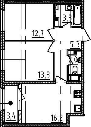 3Е-к.кв, 57.5 м²