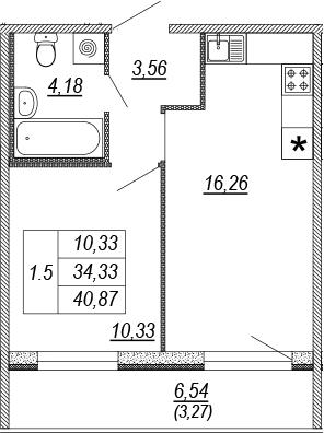 2Е-к.кв, 34.33 м², от 4 этажа