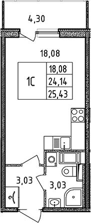 Студия, 25.43 м²– 2