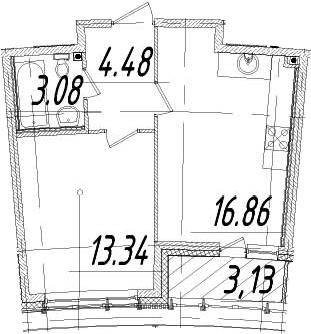 1-к.кв, 39.33 м², 13 этаж