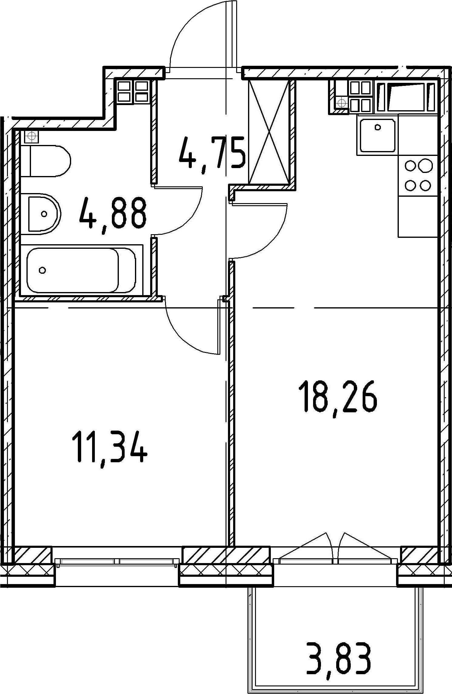 1-к.кв, 39.23 м²