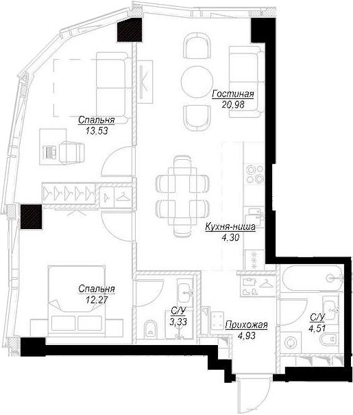 3Е-комнатная, 63.75 м²– 2