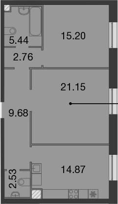 2-к.кв, 71.63 м²
