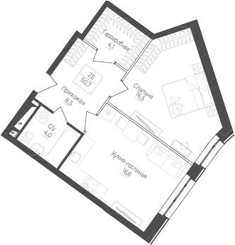 2Е-комнатная, 50.7 м²– 2