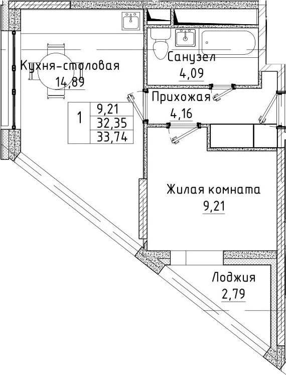2Е-к.кв, 33.74 м²