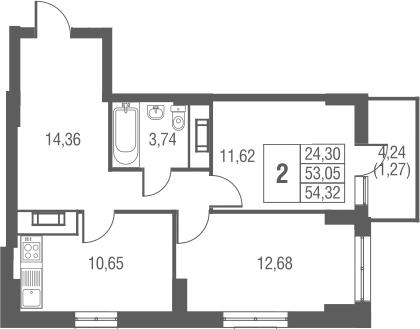 2-к.кв, 54.32 м²