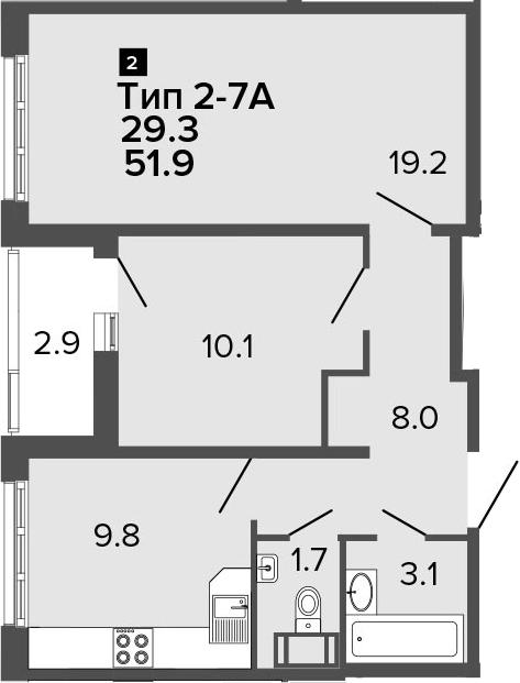 2-к.кв, 51.9 м², от 15 этажа
