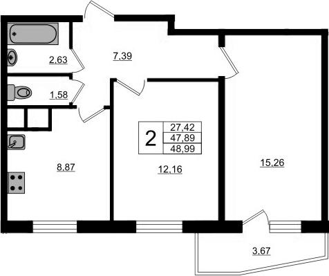2-к.кв, 51.56 м²