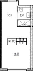 Студия, 25.35 м²– 2