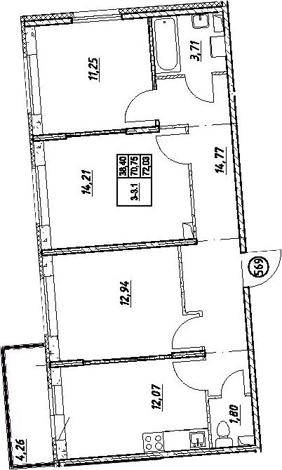 3-к.кв, 75.01 м²