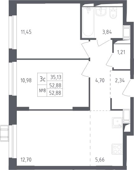 3Е-к.кв, 52.88 м², 17 этаж