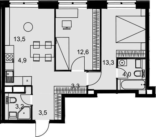 3-к.кв (евро), 58.3 м²