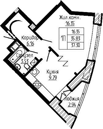 1-к.кв, 38.77 м²