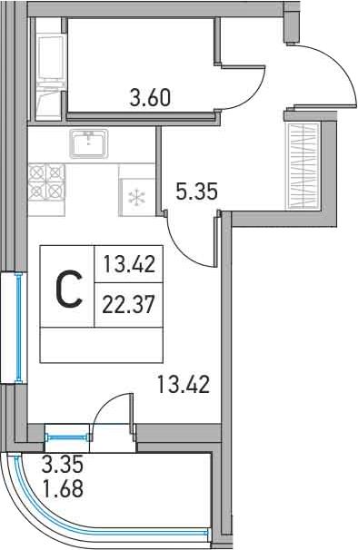 Студия, 22.37 м²