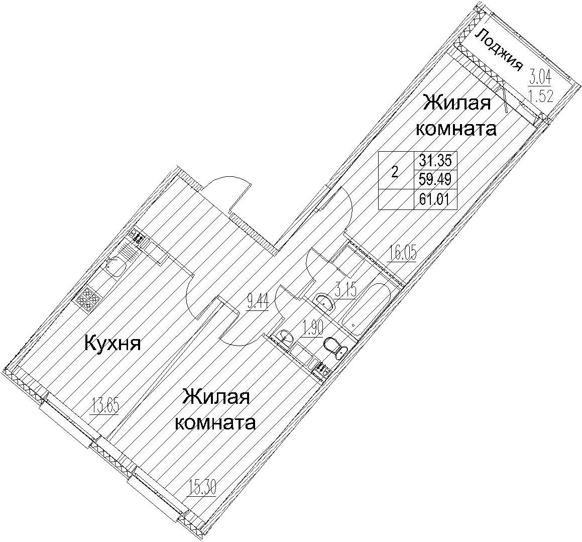 2-к.кв, 61.01 м²