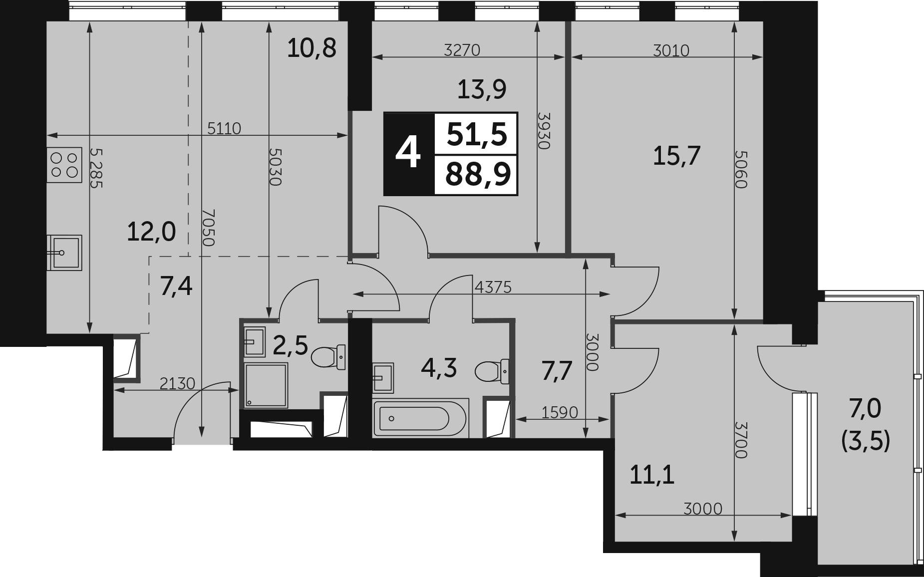 4-комнатная, 88.9 м²– 2