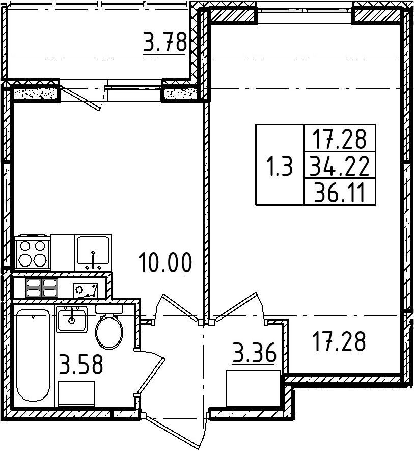 1-комнатная, 36.11 м²– 2