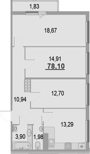 3-комнатная квартира, 78.1 м², 17 этаж – Планировка