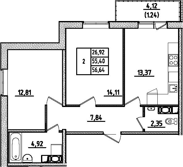 2-к.кв, 56.64 м², 1 этаж