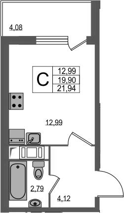 Студия, 23.98 м²