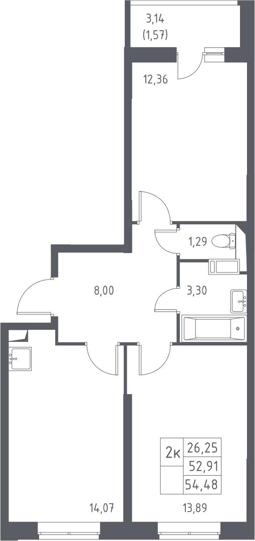 2-комнатная, 54.48 м²– 2