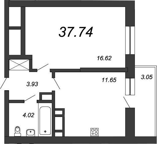 1-к.кв, 39.88 м²