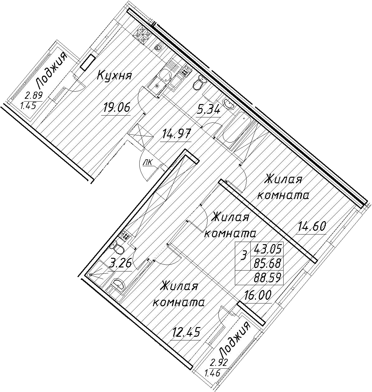 4Е-к.кв, 88.59 м², 12 этаж