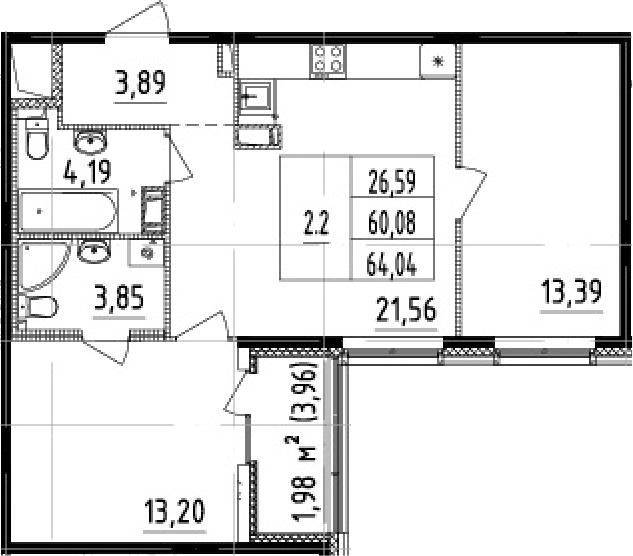 3Е-к.кв, 60.08 м², от 6 этажа