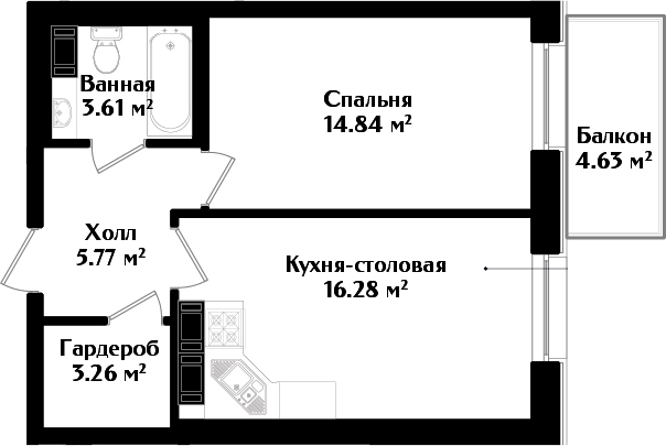 2Е-к.кв, 45.15 м²