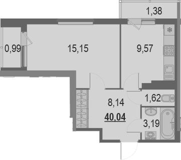 1-комнатная, 40.04 м²– 2