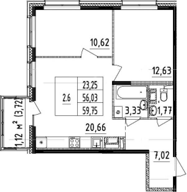 3Е-к.кв, 56.03 м², от 6 этажа