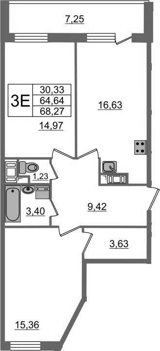 3-к.кв (евро), 71.89 м²