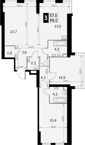 3-к.кв, 99 м², 34 этаж